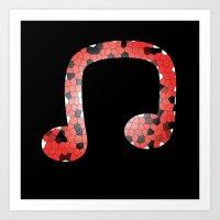 Red Headphones Art Print