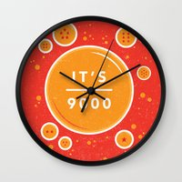 dragonball Wall Clocks featuring IT'S OVER 9000 (Dragonball) by Jacob Waites