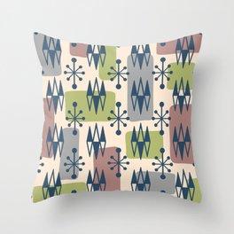 Mid Century Modern Abstract Atomic Diamonds 429 Throw Pillow
