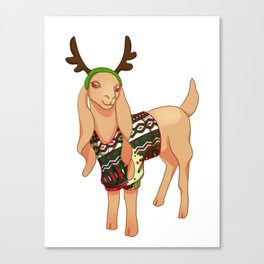 Long Eared Christmas Sweater Goat Canvas Print