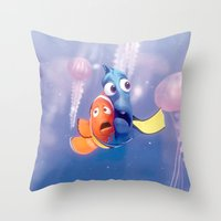 finding nemo Throw Pillows featuring Finding Nemo by Max Jones