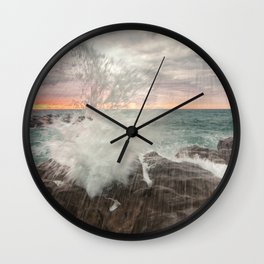 Crashing waves at sunset Wall Clock