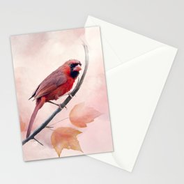 Male Northern Cardinal watercolor painting Stationery Cards