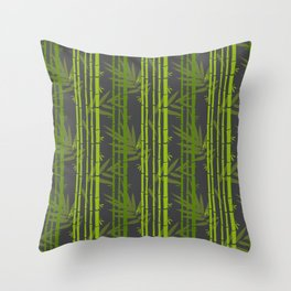 Lime Green Bamboo Leaves Pattern on Grey Throw Pillow