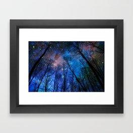 Black Trees Dark Blue Space Framed Art Print