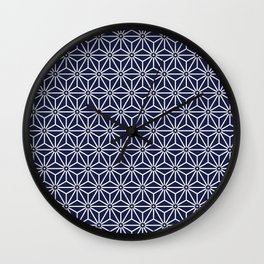 Japanese Yukata Jinbei Asanoha Navy blue Wall Clock