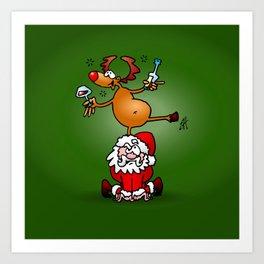 Reindeer is having a drink on Santa Claus Art Print
