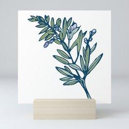Romantic Rosemary Blue - Botanical Floral Mini Art Print