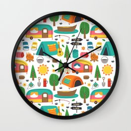 Cute Retro Vintage Camper Pattern Wall Clock