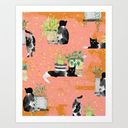 Cats & Plants #society6artprint ##cats #decor Art Print