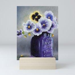Pansies in a Purple Perfect Seal Jar Mini Art Print