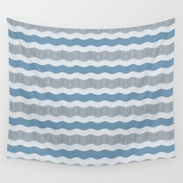 Wavy River in Blue and Gray 1 Wall Tapestry