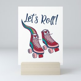 Let's Roll! Rainbow Roller Skates Pink Wheels Red Heart Tee Mini Art Print