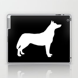 Husky dog pattern simple minimal basic dog silhouette huskies dog breed black and white Laptop & iPad Skin