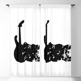 black and white guitar silkscreen print Blackout Curtain