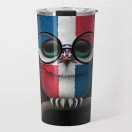 Baby Owl with Glasses and Dominican Flag Travel Mug