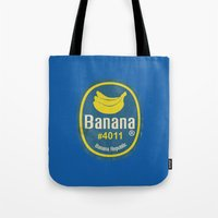 sticker Tote Bags featuring Banana Sticker On Blue by Karolis Butenas