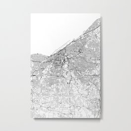 Cleveland White Map Metal Print