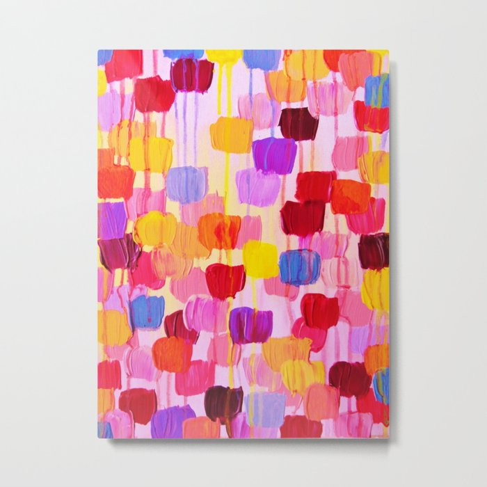 DOTTY in Pink - October Special Revisited Bold Colorful Square Polka Dots Original Abstract Painting Metal Print