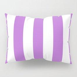 Rich lilac violet - solid color - white vertical lines pattern Pillow Sham