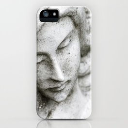 Angel face on stone memorial eyes closed iPhone Case