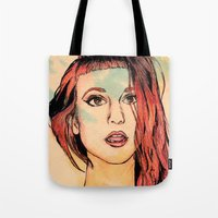 hayley williams Tote Bags featuring Hayley Williams by Adora Chloe