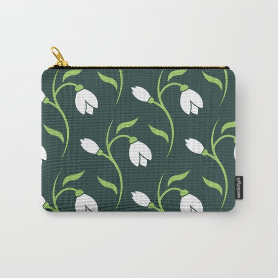Spring Snowdrop Pattern Carry-All Pouch