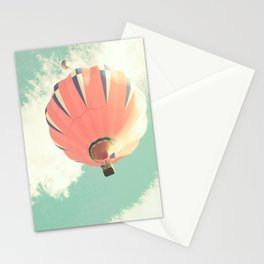 Nursery coral hot air balloon over mint sky Stationery Cards