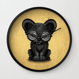 Cute Baby Black Panther Cub Wearing Glasses on Yellow Wall Clock