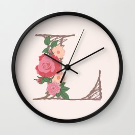 "Rose Gold Floral Letter ""L"" Wall Clock"
