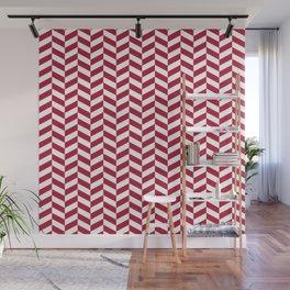 Crimson Red Herringbone Pattern Design Wall Mural