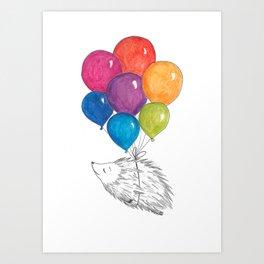Soar - Rainbow Balloon Hedgehog Art Print
