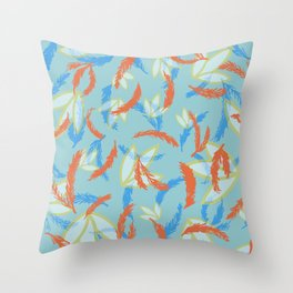 orange and blue floral Throw Pillow