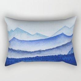 blue misty mountain ridges Rectangular Pillow