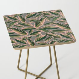 Calathea Leaves Pattern- Pink Green Gray Side Table