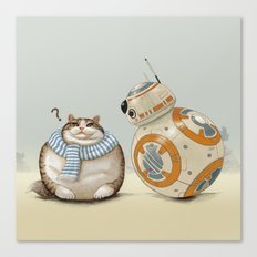 CAT AND DROID Canvas Print