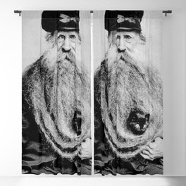 Kitten in the Beard of Old Man black and white photograph Blackout Curtain