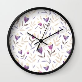 Watercolour flowers and leaves Wall Clock