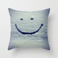 Snow Smile Throw Pillow