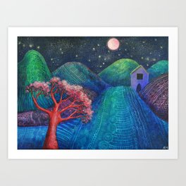 Spanish Mountain with Casita Art Print
