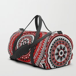 Red and Black Mandala Duffle Bag