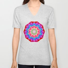 Meditation mandala in energizing colors Unisex V-Neck