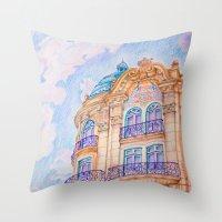 art nouveau Throw Pillows featuring art nouveau by Tereza Del Pilar