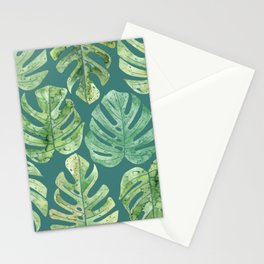 Jungle leaves Monstera leaves Palm leaves Tropical Stationery Cards