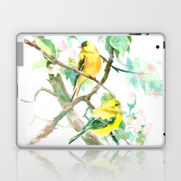 American Goldfinch and Apple Blossom Laptop & iPad Skin