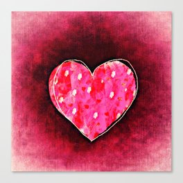 Cute Hand Drawn Pink Heart on a Grunge Texture Canvas Print