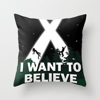i want to believe Throw Pillows featuring I want to believe by BomDesignz
