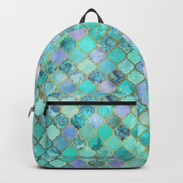 Cool Jade & Icy Mint Decorative Moroccan Tile Pattern Backpack
