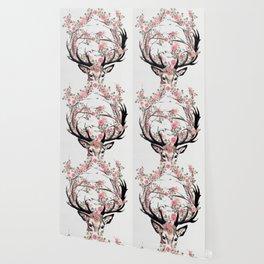 Deer and Flowers Wallpaper