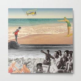Sur la plage en couleur Metal Print